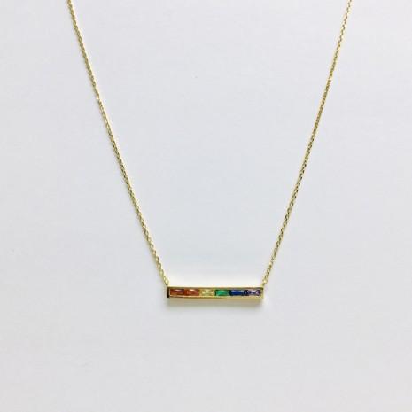 Rainbow Cubic Bar Necklace