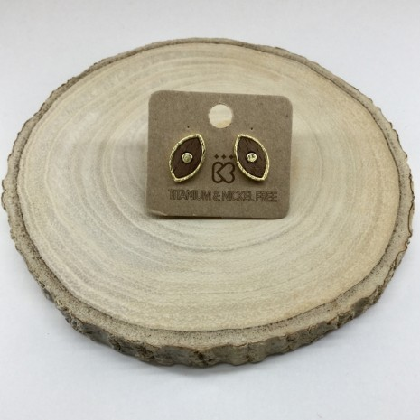 Evil Eye Wood Earrings