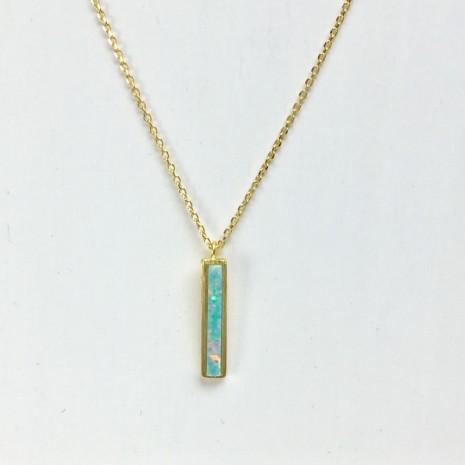 Vertical Bar Opal Necklace
