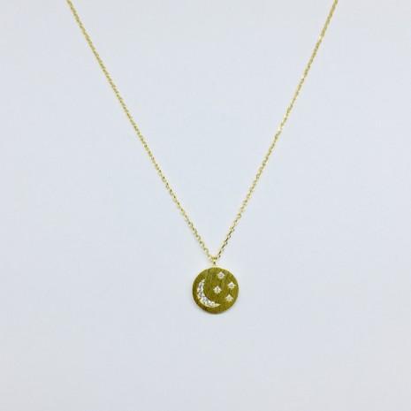 Circle Coin Moon Necklace