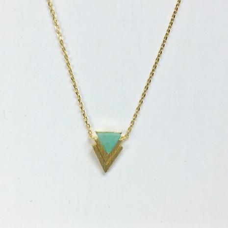 Triangle Chevron Stone Necklack