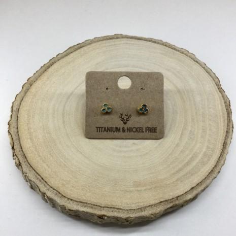 Circle Stone Stud Earrings