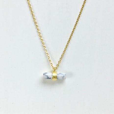 Cylinder Bar Stone Necklace