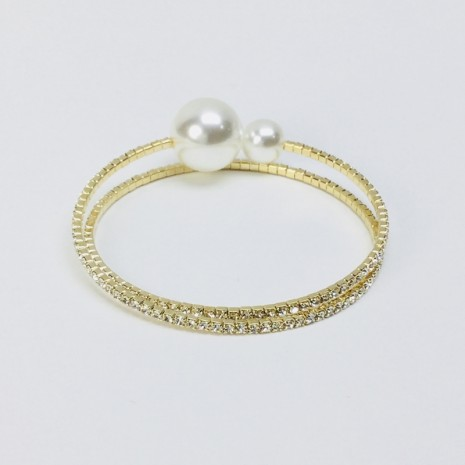 Double Line Stone With Pearl Bracelet