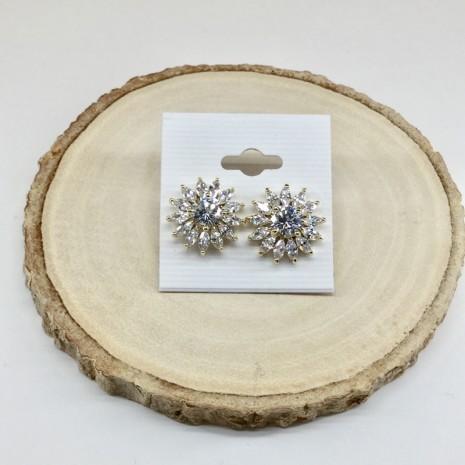 Flower Cubic Stud Earrings