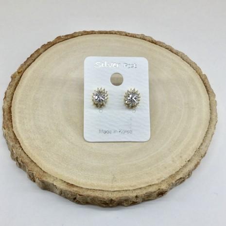 Oval Cubic Stud Earrings