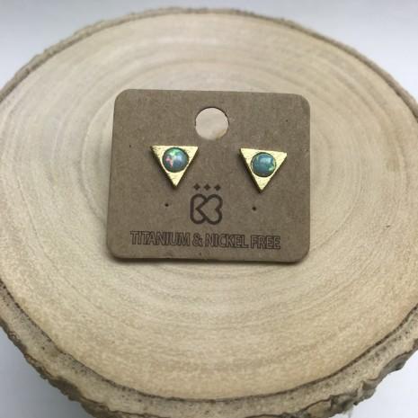 Triangle Opal Stud Earring