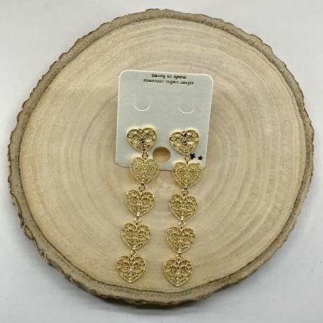 Heart Dangle Stud Earrings