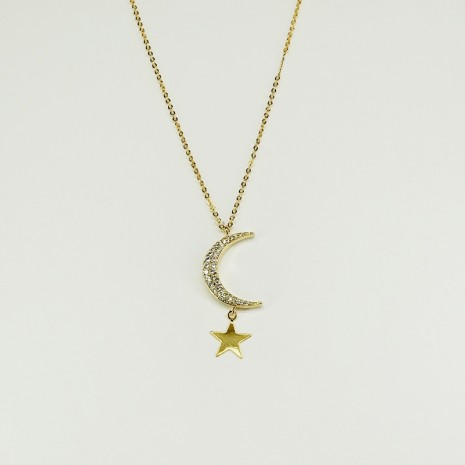 Moon And Star Cubic Necklace