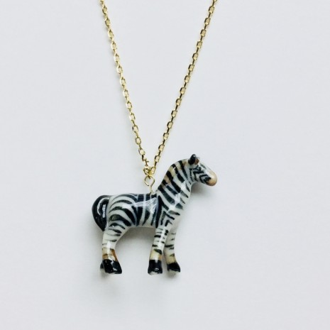 Zebra Ceramic Necklace
